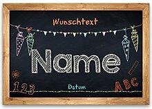 Striefchen Banner zur Einschulung - Tafel - mit Namen des Kindes, Datum und Wunschtext 50x70 cm Posterpapier