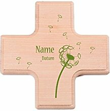 Striefchen® kleines Holzkreuz zur Taufe / Kommunion / Konfirmation mit Druck des Name und Datum
