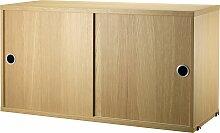 String Cabinet Kommode Weiß Schiebetüren 78 X 30 X 42 Cm Schrank (b) 78.00 X (t) 30.00 X (h) 42.00 Cm
