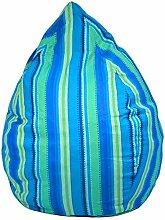 Striped Bean Bag - Sitzsack in breitem Streifenmuster - 75x95cm - blau / grün - Jeansstoff