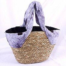 Stroh Beach Bag Stoff Schal Dekoration grau 48x 30-h29
