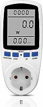 Strommessgerät, Foraco Steckdose Energiekostenmessgerät Stromverbrauchszähler mit Groß LCD Bildschirm und Überlastsicherung, 3680W, Weiß