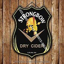 "Strongbow Trocken Apfelwein. Werbe Bar, Alte Pub Drink Pumpe Abzeichen Brewery Fass Fass Fassbier Pint Alkohol """"Hits Vor Ort"""" Form Metall/Stahl Wandschild - 27 x 20 cm"
