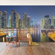 Strukturierte Fototapete Dubai Skyline by Night