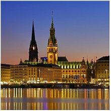 Strukturierte Fototapete Hamburg Panorama