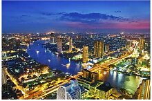 Strukturierte Fototapete Skyline von Bangkok