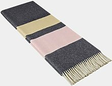 STTS International Kaschmir Decke Wolldecke Wohndecke Merinowolle - Kaschmir - Mix 140 x 200 cm sehr weiches Plaid Kuscheldecke Faro (Dunkelgrau-Rosa-Gelb (Streifen))