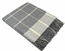 STTS International Kaschmir Decke Wolldecke Wohndecke Merinowolle - Kaschmir - Mix 140 x 200 cm sehr weiches Plaid Kuscheldecke Faro (Hellgrau (Karo))