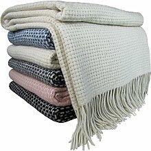 STTS International Wohndecke Wolldecke Decke Kuscheldecke Sehr Weiches Plaid Roma 140 x 200 cm Creme-Weiß (1)