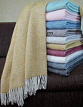 STTS International Wohndecke Wolldecke Decke Plaid Kuscheldecke 140 x 200 cm Wolle Milano (Gelb-Weiß (270))