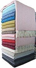 STTS International Wohndecke Wolldecke Decke Plaid Kuscheldecke 140 x 200 cm Wolle Milano (Rosa-Weiß)