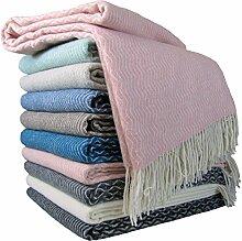 STTS International Wohndecke Wolldecke Decke Sehr Weiches Plaid Kuscheldecke 140 x 200 cm Wolle Davos Alle Farben (Rosa)