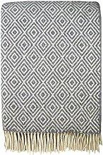 STTS International Wolldecke Plaid Wohndecke Kuscheldecke Decke 140x200cm 80% Wolle Verona (Hellgrau-Weiß)