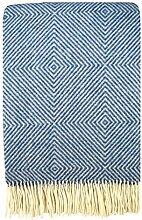 STTS International Wolldecke Plaid Wohndecke Kuscheldecke Plaid Decke 140x200cm Wolle Garda (Blau)