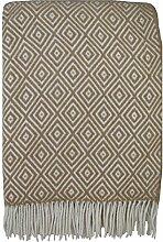 STTS International Wolldecke Plaid Wohndecke Kuscheldecke Plaid Decke 140x200cm 80% Wolle Verona (Beige-Weiß)