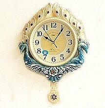 Studie Im Wohnzimmer Wanduhr Europäischen Watch Zhong Shizhong Kreativen Hängenden Uhren Mute Quartz Clock 41 Cm * 60 Cm Garten 41 Cm * 60 Cm, Peacock Blue