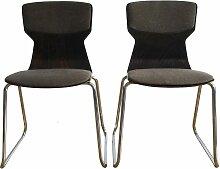Stühle aus geformtem Schichtholz und verchromtem
