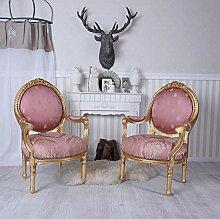 Stühle Garnitur Sessel Barock Armlehnsessel Rosa