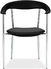 Stühle in Schwarz und Chromfarben Armlehnen (4er
