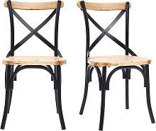 Stühle Industrie-Stil schwarzes Metall und Holz