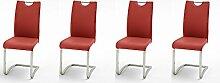 Stühle, Schwingstühle, Schwinger, Esszimmerstuhl, 4er-Set, Freischwinger, Kunstleder, rot, verchromt, Maße: 43/100/57 cm