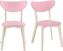 Stühle skandinavisch Rosa und helles Holz