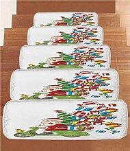 Stufenmatten aus Fleece, Weihnachtsmann auf