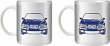 STUFF4 Tee/Kaffee Becher 350ml/2 Pack Blau/M5 E39/Weißkeramik/ST10