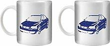 STUFF4 Tee/Kaffee Becher 350ml/2 Pack Blau/S60 R /Weißkeramik/ST10