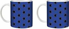 STUFF4 Tee/Kaffee Becher 350ml/2 Pack Blau/Stern-Muster/Weißkeramik/ST10