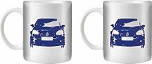 STUFF4 Tee/Kaffee Becher 350ml/2 Pack Blau/VW Golf GTI Mk5/Weißkeramik/ST10