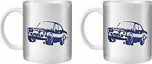 STUFF4 Tee/Kaffee Becher 350ml/2 Pack Blue/Escort RS1600 Mk1/Weißkeramik/ST10