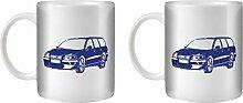 Stuff4® Tee/Kaffee Becher 350ml/2 Pack Blue/Volvo V70R/Weißkeramik/ST10