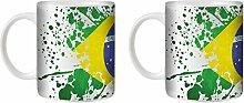 STUFF4 Tee/Kaffee Becher 350ml/2 Pack Brasilien/Flagge Splat Land/Weißkeramik/ST10