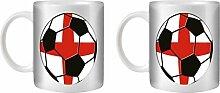 STUFF4 Tee/Kaffee Becher 350ml/2 Pack England/Englisch/Fußball Flagge/Weißkeramik/ST10
