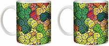 Stuff4® Tee/Kaffee Becher 350ml/2 Pack Gelb/Süßigkeiten Schädel/Weißkeramik/ST10