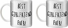 STUFF4 Tee/Kaffee Becher 350ml/2 Pack Girlfriend/Black Text/Best Ever/Weißkeramik/ST10