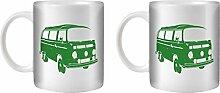 STUFF4 Tee/Kaffee Becher 350ml/2 Pack Grün/VW T2 Kombi Bus/Weißkeramik/ST10