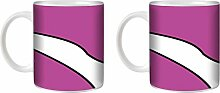 STUFF4 Tee/Kaffee Becher 350ml/2 Pack Lila/Anemonenfisch/Weißkeramik/ST10