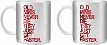 STUFF4 Tee/Kaffee Becher 350ml/2 Pack Mini/Red Text/Alte Autos/Weißkeramik/ST10