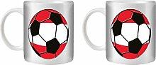 STUFF4 Tee/Kaffee Becher 350ml/2 Pack Österreich/österreichisch/Fußball Flagge/Weißkeramik/ST10