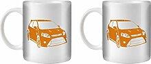 STUFF4 Tee/Kaffee Becher 350ml/2 Pack Orange/Focus RS Mk2/Weißkeramik/ST10