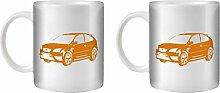 STUFF4 Tee/Kaffee Becher 350ml/2 Pack Orange/Focus ST Mk2/Weißkeramik/ST10