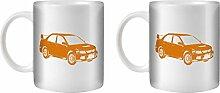 STUFF4 Tee/Kaffee Becher 350ml/2 Pack Orange/Lancer Evo IX 9/Weißkeramik/ST10