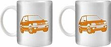 STUFF4 Tee/Kaffee Becher 350ml/2 Pack Orange/Peugeot 205 GTI/Weißkeramik/ST10