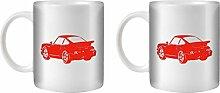 STUFF4 Tee/Kaffee Becher 350ml/2 Pack Rot/911 Turbo 82/Weißkeramik/ST10