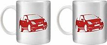 STUFF4 Tee/Kaffee Becher 350ml/2 Pack Rot/Civic Type R EP3/Weißkeramik/ST10