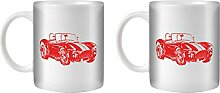 STUFF4 Tee/Kaffee Becher 350ml/2 Pack Rot/Classic AC Cobra/Weißkeramik/ST10