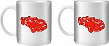 STUFF4 Tee/Kaffee Becher 350ml/2 Pack Rot/P 718 RS60/Weißkeramik/ST10