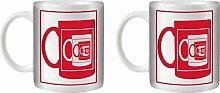 STUFF4 Tee/Kaffee Becher 350ml/2 Pack Rot/Spiegel Becher Illusion/Weißkeramik/ST10